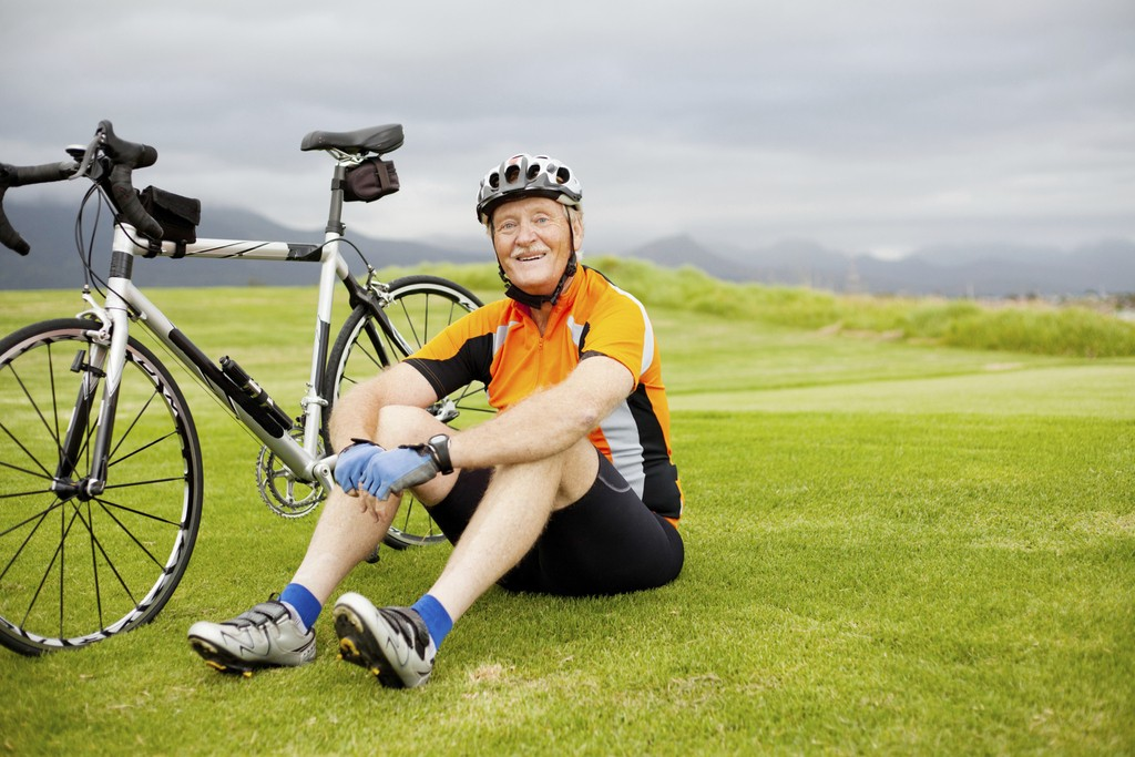 happy senior cyclist
